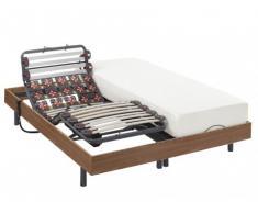 Cama eléctrica de láminas y terminales - HEDONA de NATUREA - motores OKIN - color marrón topo - 2x80x200cm