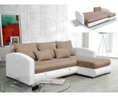 Sofá cama rinconero de orientación reversible tapizado de piel sintética y tela PIANA - Beige y blanco
