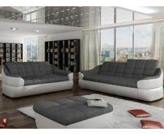 Sofá 3+2 plazas de tela y piel sintética FAREZ - Bicolor gris y blanco