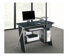 Mesa de ordenador PASCAL - 1 cajón - Cristal templado negro