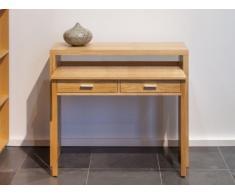 Consola escritorio SISKO - 2 cajones - Roble - Color natural