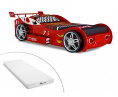 Cama en forma de coche RUNNER con cajón - 90x200 cm - Color rojo + colchón STELO KIDS 90x200