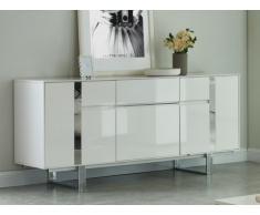 Aparador PETILLANTE - 3 puertas y 1 cajón - MDF y metal cromado - Blanco lacado