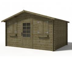 Caseta de jardín JOTEA de madera tratada clase III- 12m2 - tejado en fieltro asfáltico