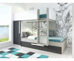 Cama litera con cajón cama nido ANTONIO - 3x90x190 cm - Armario integrado - Pino gris antracita y blanco
