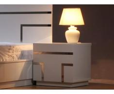 Mesa de noche LUMINESCENCE - 2 cajones - MDF lacado blanco