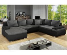Sofá-cama rinconero panorámico y reversible de piel sintética y tela DAKOTA - Bicolor negro y gris