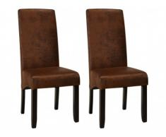 Conjunto de 2 sillas SANTOS - Microfibra con aspecto piel envejecida - Patas de madera oscura