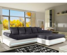 Sofá cama rinconero de tela y piel sintética con leds MATTIAS - Blanco y gris - Ángulo derecho
