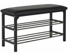 Mueble zapatero VOYELLE - Banco integrado - 2 estantes - Color negro