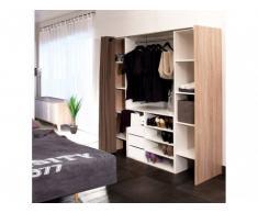 Conjunto de armario vestidor + mueble EMERIC - Blanco/Roble & Topo
