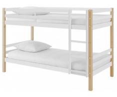 Cama litera PHILEMON - 2x90x190 cm - Pino macizo - blanco y roble