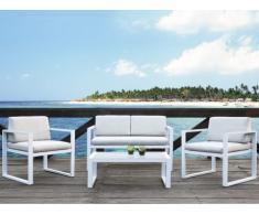 Conjunto de jardín PALAOS - Sofá 2 plazas + 2 sillones + mesa de centro - Gris