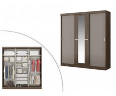 Armario DIDDA - 3 puertas correderas - Largo 205 cm - Chocolate y marrón topo