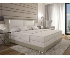 Conjunto boxspring completo cabecero con Leds + somieres + colchón + cubrecolchón ASTI - 2x80x200 cm - piel sintética - Crema y blanco