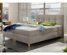 PACK Cabecero + somier + colchón + cubrecolchón POUPOUPIDOU de PALACIO - Tela beige - 2x80x200 cm