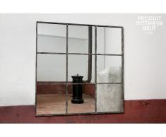 Espejo cuadrado de diseño industrial de 9 paneles