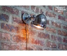 Lámpara de pared de estilo vintage tipo faro plateada