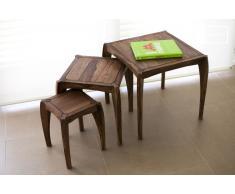 Trio de mesas estilo vintage Luna
