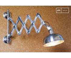 Lámpara tijera de pared plateada de estilo vintage