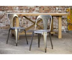 Silla Multipl's de estilo escandinavo con acabados de acero cepillado
