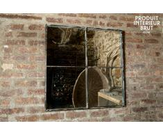 Espejo cuadrado de diseño industrial con cuatro paneles