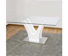 Mesa de comedor doble v lacado blanco