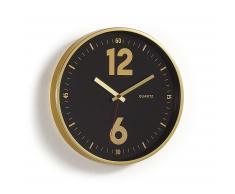 Reloj de pared Mentha negro marco metal dorado