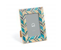 Marco de fotos Doala 16 x 21 cm madera hueso azul y turquesa