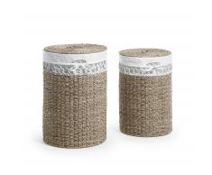 Set 2 cestas lavandería Mast, natural y blanco