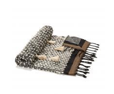 Manta con flecos Gravel algodón 125 x 150 cm marrón azul