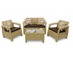 JUSTyou Muebles de jardín Corfu Beige Marrón