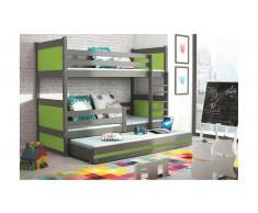 JUSTyou Lora con cama supletoria Litera Grafito Verde
