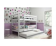 JUSTyou Kera con cama supletoria Litera Blanco Grafito