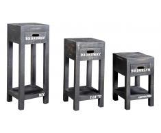 JUSTyou Ronn Mesa auxiliar conjunto de 3 piezas Negro