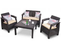 JUSTyou Muebles de jardín Corfu Fiesta Marrón Beige