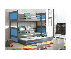 JUSTyou Lora con cama supletoria Litera Grafito Azul