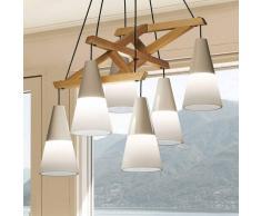 Viokef Lámpara colgante Lucas refinada, cristal y madera