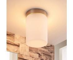 Lampenwelt.com Lámpara de techo Miguel cristal, armazón en níquel