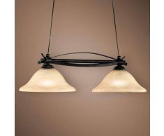Fischer & Honsel Lámpara colgante barra DANA estilo rústico 2 focos