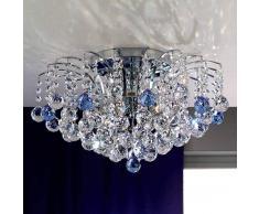 Orion LENNARDA - Lámpara de techo de cristal, azul/cromo