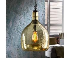 Schuller Lámpara colgante de vidrio Laia look retro, ámbar