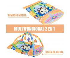 HOMCOM ® Manta Bebé Cojín de Juego con 5 Animales Colgantes 92x65x45cm