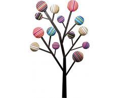 Kare Design Perchero Bubble Tree, Diseño de Árbol 6 Ganchos Adornados con Botones Multicolores, 111 x 65 x 6.5 cm, Tela, Policromo