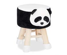 Relaxdays Taburete Infantil Animal Forma de Panda con Funda Extraíble, Madera, 34,5 X 28 cm