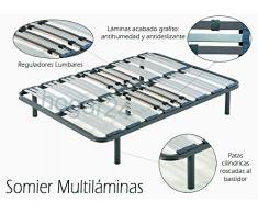 HOGAR 24 Somier multiláminas con reguladores lumbares, Metal, 135 x 190 cm-Patas 32 cm