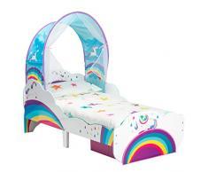 Hello Home Cama Infantil de Unicornio y Arco Iris con Dosel y cajón, Madera, Tamaño aproximado: cm (Altura) x 77 cm (Anchura) x 143 cm (Fondo)