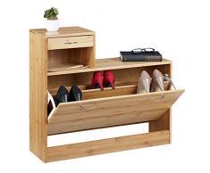 Relaxdays, 70 x 80 x 24 cm, Zapatero con Cajón, hasta 8 Pares de Zapatos, Mueble recibidor, Bambú, Marrón