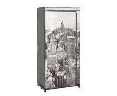 Haku Möbel armario de tela, acero tubular, gris, 45 x 72 x 160