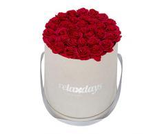 Relaxdays Rosas Artificiales en Caja Gris Redonda, 34 Unidades, Ramo Decorativo, Flower Box, Cartón-Tela-PP, Rojo